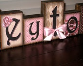Personalized Little Girl Name Blocks - Loft Blocks - Great Addition to Little Princesses Room - Butterflies, Pinks, Browns