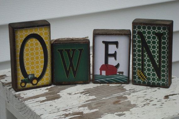 Personalized Little Boy Name Blocks -Green & Yellow farm and tractor theme