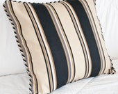 Black and Gold Stripe Decorative Accent Pillow 16x16