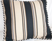 Decorative Accent Pillow 14x14 in Black and Gold Stripes