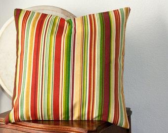 Handmade Decorative Pillow Cover, Sofa Throw Pillow Cover, Accent Pillow, 18X18 Pillow, Green Red and Gold Stripe, Home Decor, Pillow Sham