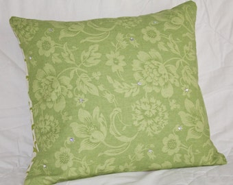 Decorative Pillow - Handmade Throw Pillow - Accent Pillow Cover - Botanical Print Decorative Accent Pillow 16x16 in Olive/Lime/Celery Hue