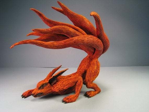 Last Chance: Kitsune Kyuubi 9 Tailed Fox Anime Japan Painted Resin Cast Sculpture