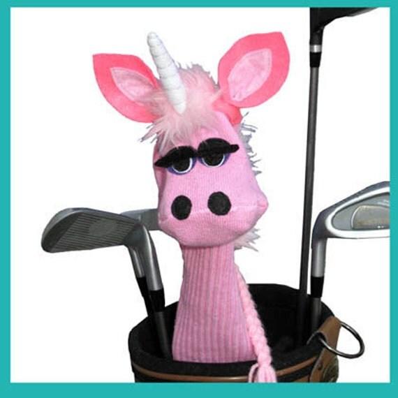 Handmade Sock Puppet Style Unicorn Golf Club Cover Pink