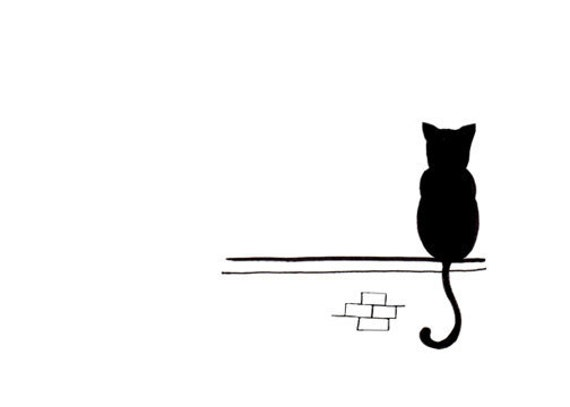 Cat Drawing - Simple Black and White Art Print - Sitting and Waiting