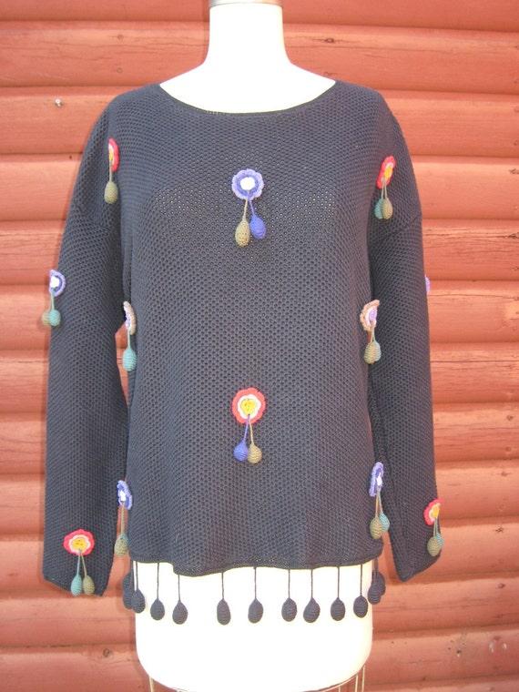ON SALE Vintage 1980s Crochet Flower Sweater by Carole Little