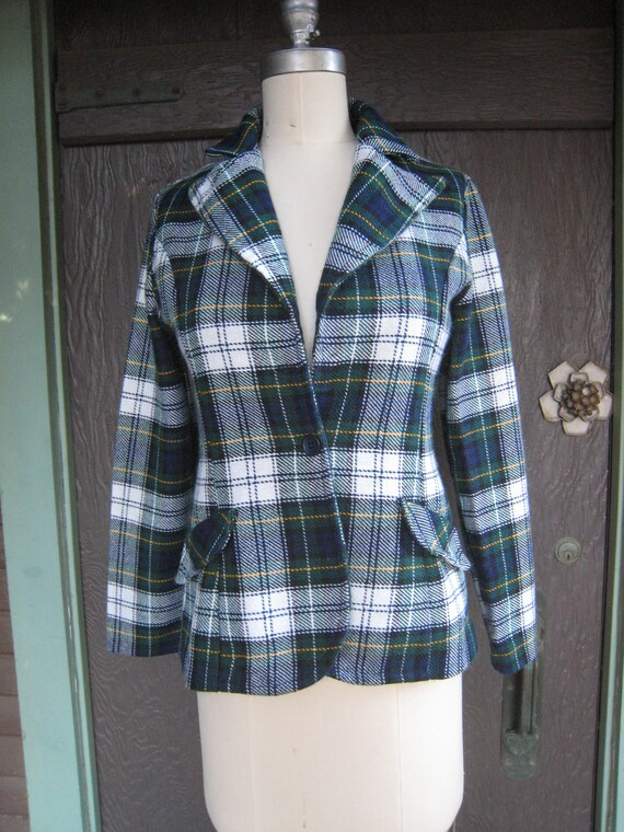 Vintage Preppy Acrylic Tartan Plaid Jacket with Large Collar
