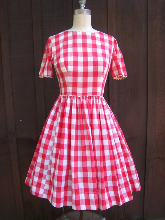 Vintage Red Checkered Picnic Tablecloth Gingham Country Style Dress Rockabilly Ready