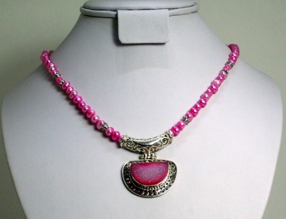 Pink Druzy Pendant on Pink Pearl & Jade Necklace