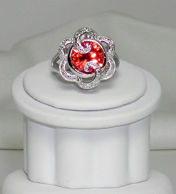 Padparadscha lab grown Diamond Cut Gemstone set in Sterling Silver
