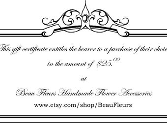 Gift Certificate in amount of your choice BF11046