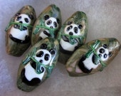 PANDA BEADS  -  5 Ceramic Beads - Double-Sided - Green, White, Black, Brown