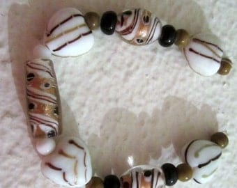 LAMPWORK Black, Gold, White BEADS