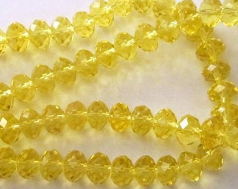 Czech Glass Yellow Faceted Beads - 12  Beads