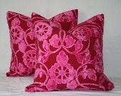 Designer Pillow Covers  22 x 22 Contemporary Floral Hot Pink and Red - Set of 2