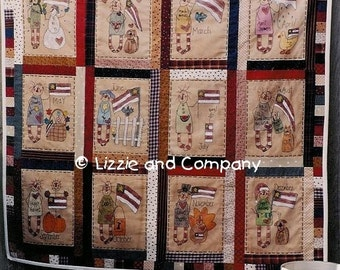 FLaG STiTCHerY QUiLT - PDF ePattern - Primitive and Whimsical