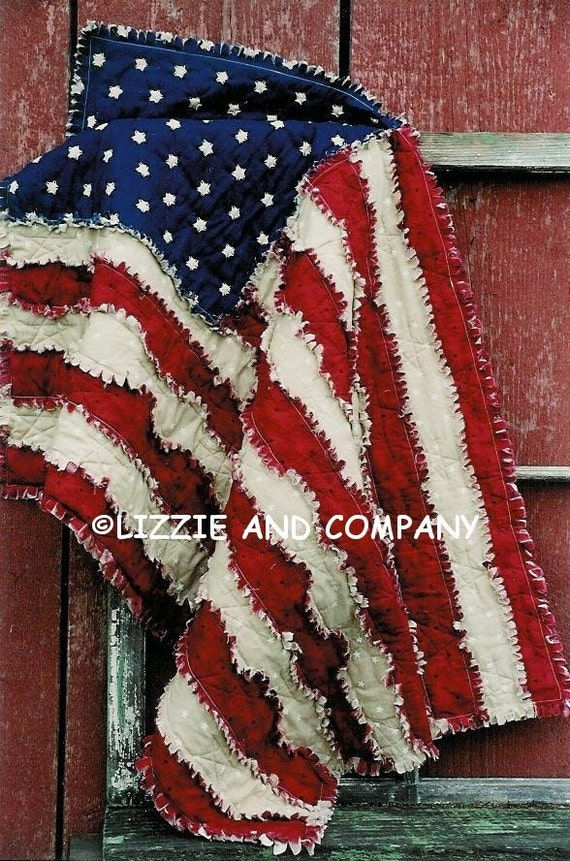 "RaG FLaG LaP QUiLT 42"" X 27"" and Larger 53"" X 79"" ePattern - PDF ePattern - Primitive Raggedy American Flag ePATTERN - Immediate Download"