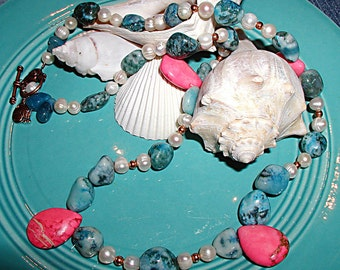 SALE Caribbean Sunset Necklace- Agate Pearl Turquoise Necklace Set ET-CSS-S