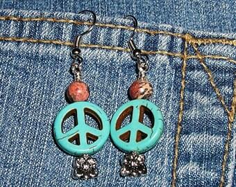 Peaceful Lobes No.1- Hippie Peace Earrings ET-HPE-PF-E1