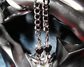 Morgannas Tears- Hematite Czech Pewter Skull Earrings- ET-SOA-MT-E