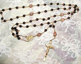 Czech Jet Glass and Jasper Rosary Beads ET-RCJG-1
