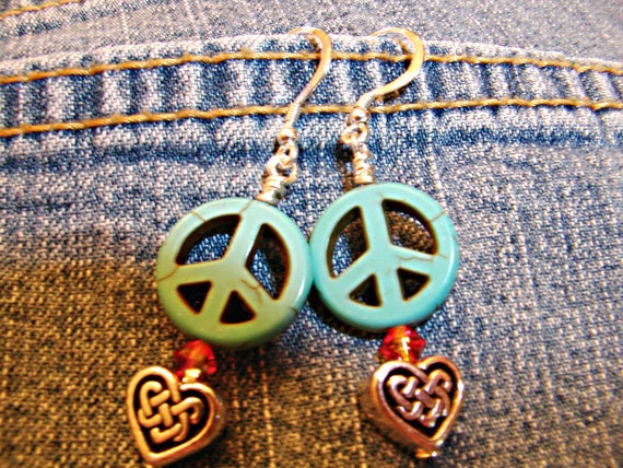 Colleen's Peaceful Heart - Peace Sign Celtic Irish Heart Earrings - ET-HPE-PCPH-E