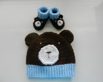 Bear Hat w/ matching Booties
