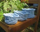 Handmade Crochet Powder Blue Shell Stitch Nesting Baskets, Set of 3