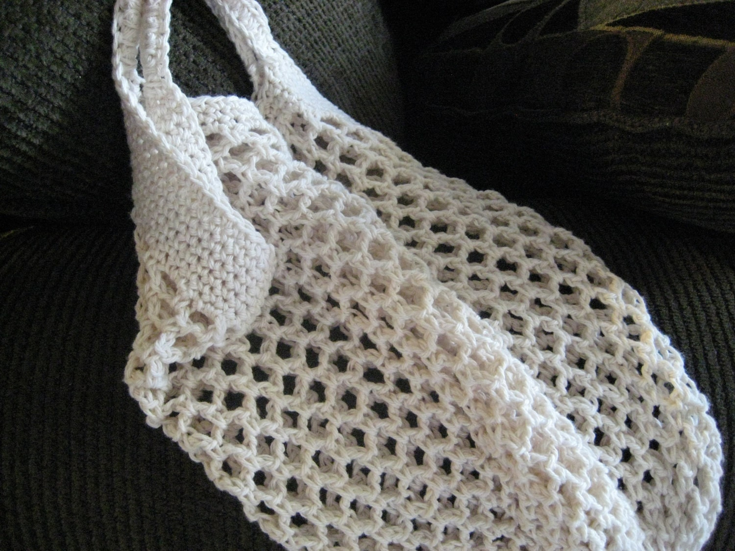 Crochet Mesh Bag Pattern : Natural Cotton Crochet Mesh Shopping Bag by GMaEllenCrochetGifts