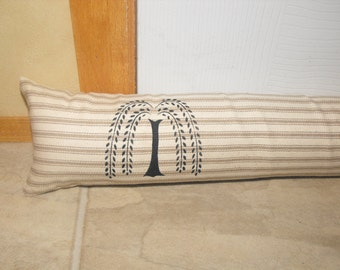 "Door Draft Stopper, Willow Tree, OR ""stencil choice"" CUSTOM LENGTH, Window Draft Stopper, Velcro fastening"