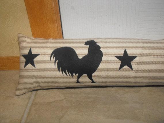 "Door  Draft Stopper, rooster, OR ""stencil choice""  CUSTOM LENGTH, Window Draft Stopper, Velcro fastening"