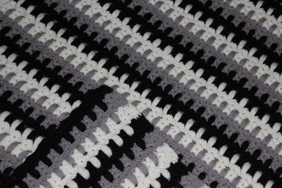 Crochet Blanket Black And White Black White Crochet Afghan