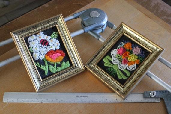70s Bouquet & Daisies with a Ladybug Framed Crewel Art