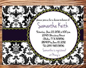 Bridal Shower Invitation Wedding shower Invitation,Bridal Shower Invitation,Baby Shower,Damask, Black, white, green Invitation, 5015