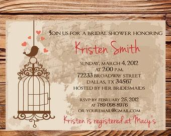 Vintage Bridal Shower Invitation,Vintage Postcard Bird Bridal Shower Invitation,Wedding Shower, Digital, Wedding Shower Banner, 5266