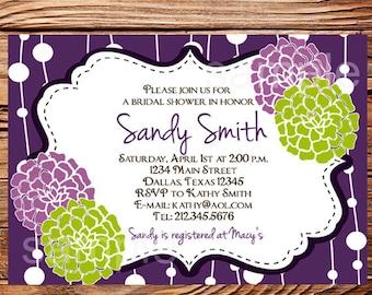 Bridal shower Invitation,Bridal Shower Invite, Purple Flowers Wedding Shower Invitation,Purple Wedding Shower, digital,printable, 5053