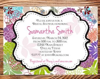 Bridal shower Invitation,wedding shower Invitation,Floral Wedding Shower Invitation,Invite,digital, printable file, 5158