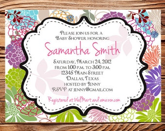 Baby shower invitation, floral baby shower Invitation, boy, girl, baby Shower Invite, pink, yellow, Invite,  digital, 1111