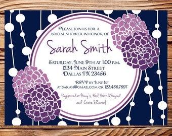 Bridal shower Invitation,Bridal Shower Invite, Purple Flowers Wedding Shower Invite,Purple Wedding Shower, Navy,digital, 5049