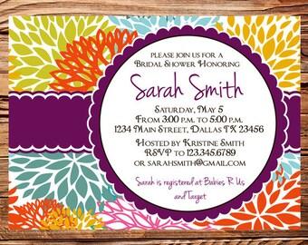 Bridal shower Invitation,wedding shower Invitation,Floral Wedding Shower Invitation,Invite,plum, purple, digital, printable, 5160