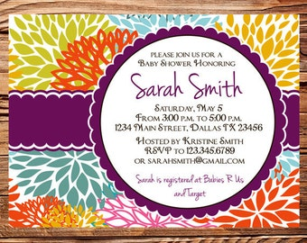 Baby shower invitation, floral baby shower Invitation, boy, girl, baby Shower Invite, purple, yellow, Invite,  digital, 1116