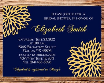 Bridal shower Invitation,Wedding Shower Invitation,Blue and Yellow Wedding Shower Invite,digital, printable file, 5154