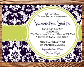 Bridal Shower Invitation,Damask Bridal or Wedding shower Invite, Baby Shower, Purple, Green Damask Bridal Shower Invitation, 5064