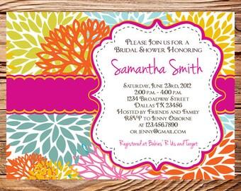 Bridal shower Invitation,floral wedding shower Invitation,event invitation floral, Invite,pink, digital, printable file, 5070