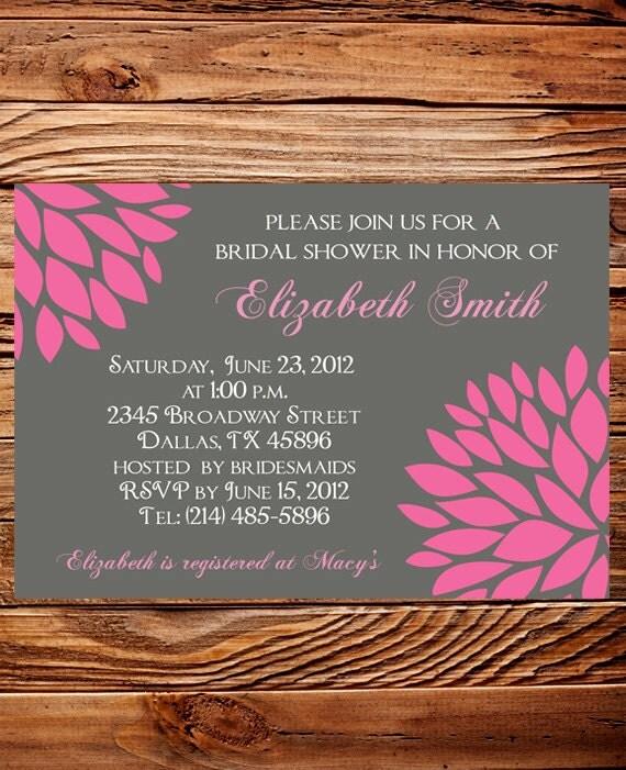 Wedding Shower Invitation,Bridal shower Invitation,Gray and Pink Flower Wedding Shower Invite,digital, printable file, 5276