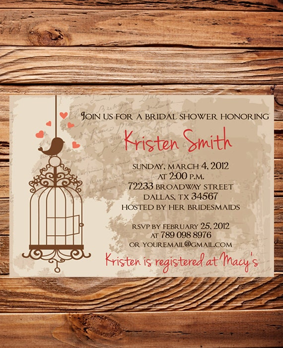 vintage bridal shower invitationvintage postcard bird bridal, Wedding invitations