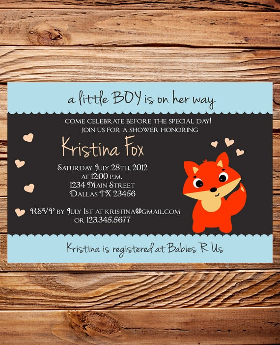 fox baby shower invitation boy girl girl baby shower invite boy