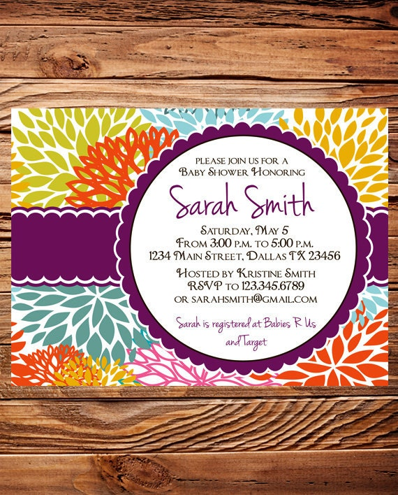 Baby shower invitation, floral baby shower Invitation, boy, girl, baby Shower Invite, purple, yellow, Invite,  digital, 1116