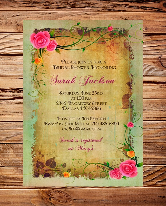 Vintage Bridal Shower Invitation,Roses, Pink, Brown, Vintage, Roses Bridal Shower, Baby Shower, Roses, Roses Frame,Brown, 5265