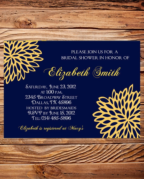 Bridal shower Invitation, Wedding Shower Invitation, Blue and Yellow Wedding Shower Invite,  digital, printable file (6079)
